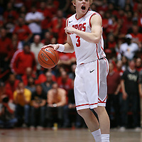 18 January 2012:  New Mexico Lobos #3 Hugh Greenwod calls out a play while dribbling the ball up the court. San Diego State Aztecs defeated the New Mexico Lobos Lobos 75 - 70 at The Pit in Albuquerque, NM.