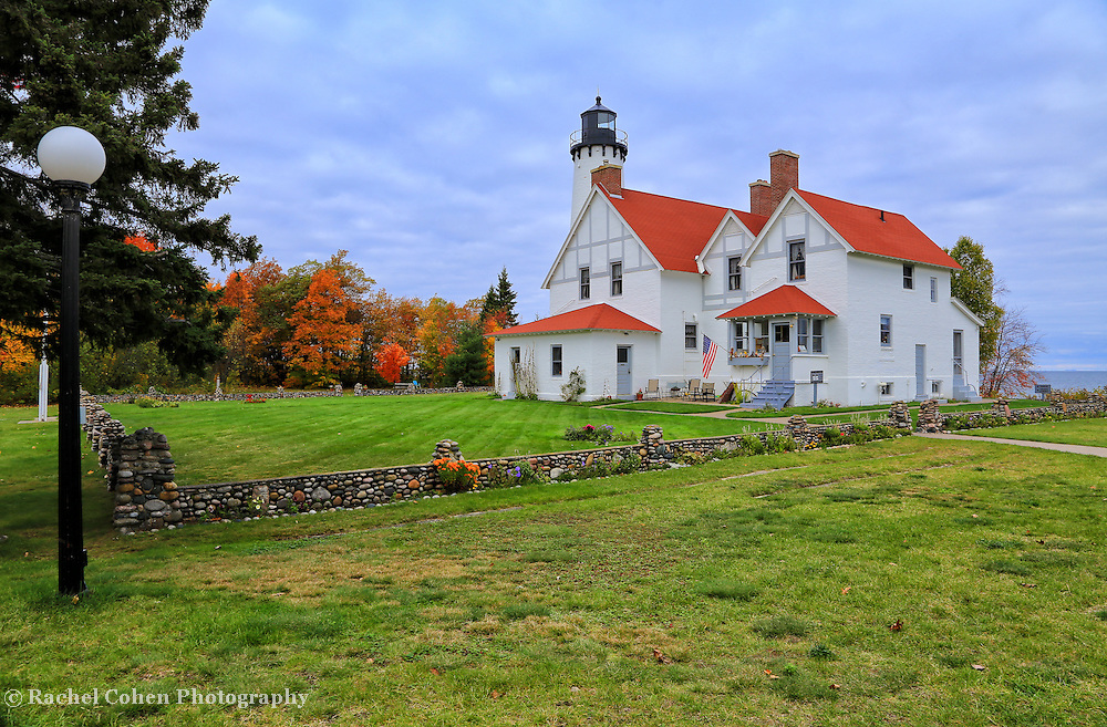 &quot;One if by Land&quot;<br /> <br /> A beautiful autumn vision of the historic Point Iroquois Light Station!!<br /> <br /> Lighthouses of the Great Lakes by Rachel Cohen