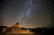 Milky Way over the Moulton Barn on Mormon Row, Grand Teton National Park, Wyoming.