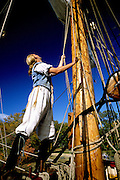 Image of the Susan Constant ship docked at Jamestown Settlement, Virginia, east coast