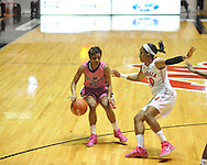 "Ole Miss' Amber Singletary (20) vs. Georgia's Jasmine James (10) in women's basketball at the C.M. ""Tad"" Smith Coliseum in Oxford, Miss. on Sunday, February 24, 2013. Georgia won 73-54."