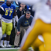 Delaware head coach Dave Brock watches a play develop from the sidelines during a week nine Colonial Athletic Association Conference game between the Delaware Blue Hens and the Albany Great Danes Saturday, Nov. 07, 2015 at Tubby Raymond Field at Delaware Stadium in Newark, DE.
