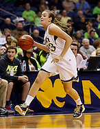 SOUTH BEND, IN - FEBRUARY 11: Michaela Mabrey #23 of the Notre Dame Fighting Irish dribbles the ball up court during the game against the Louisville Cardinals at Purcel Pavilion on February 11, 2013 in South Bend, Indiana. Notre Dame defeated Louisville 93-64. (Photo by Michael Hickey/Getty Images) *** Local Caption *** Michaela Mabrey