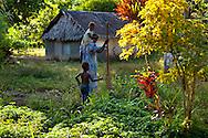 Fisherman's wife and her children. Uleveo, Maskelyne Island, Malampa Province, Malekula, Vanuatu