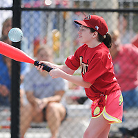 Mackenzie Moore connects with a pitch Saturday September 13, 2014 during the opening weekend of The Miracle League. (Jason A. Frizzelle)