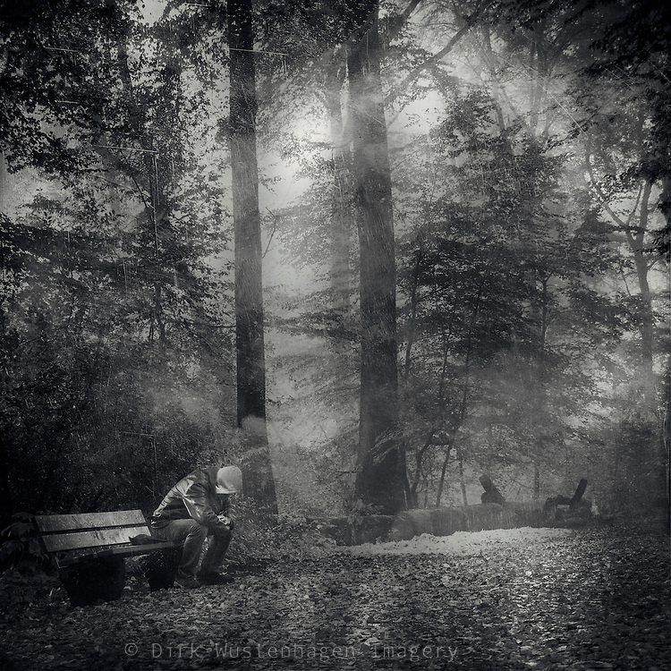Man - sitting on a bench in a hazy forest<br />