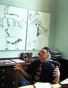 Professor Alan Snyder of The Centre for the Mind at Sydney University. The pictures on hi swasll were drawn by four year old children..Sydney, March 2003