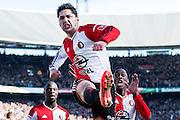 ROTTERDAM  - Feyenoord - PSV , eredivisie , voetbal , Feyenoord stadion de Kuip , seizoen 2014/2015 , 22-03-2015 , Feyenoord speler Anass Achahbar viert de 1-0 samen met Elvis Manu (l) en Terence Kongolo (r)