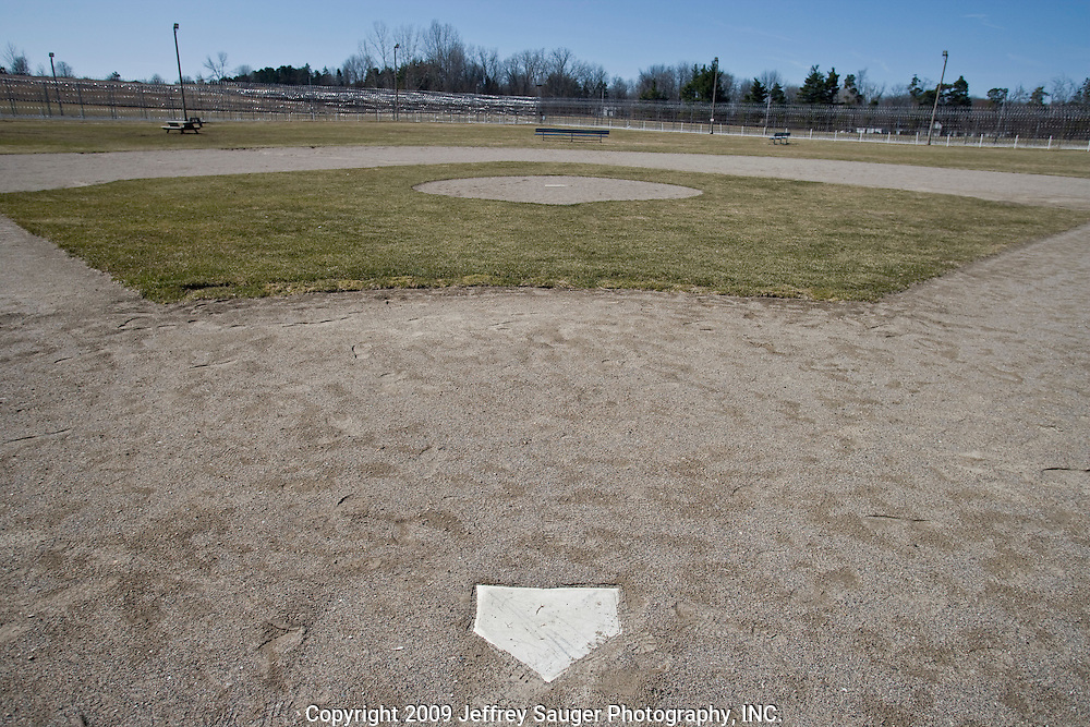 Deerfield Correctional Facility's baseball diamond sits deserted after the last 33 of 1,200 prisoners were transported out of the closing prison in Ionia, MI, Friday, March 20, 2009. The prisoners were transferred to West Shoreline Correctional Facility in Muskegon, MI.