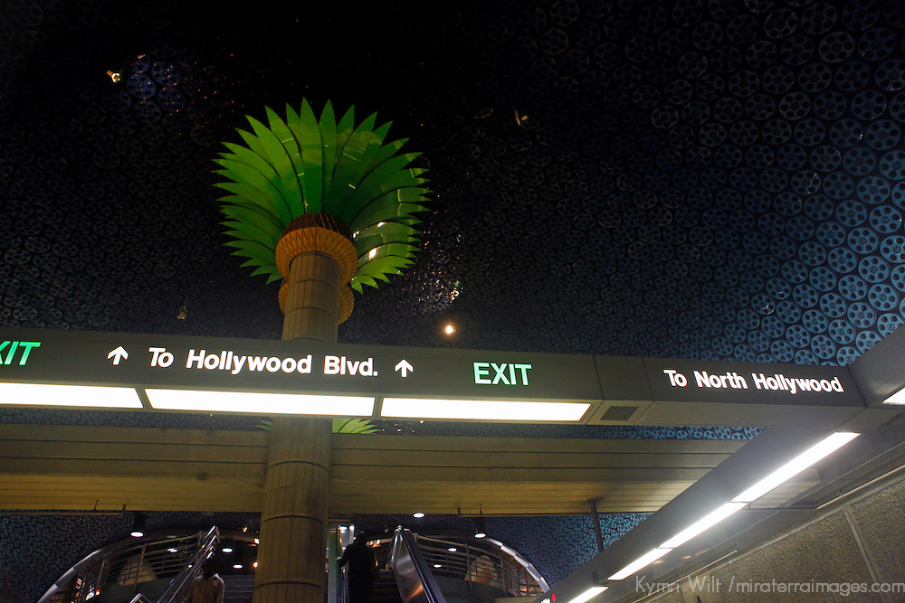 USA, California, Los Angeles. Los Angeles Metro pubic transportation station.