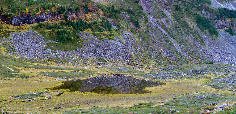Terminal Lake in the Heather Meadows area of the Mount Baker-Snoqualmie National Forest of Washington State, USA.