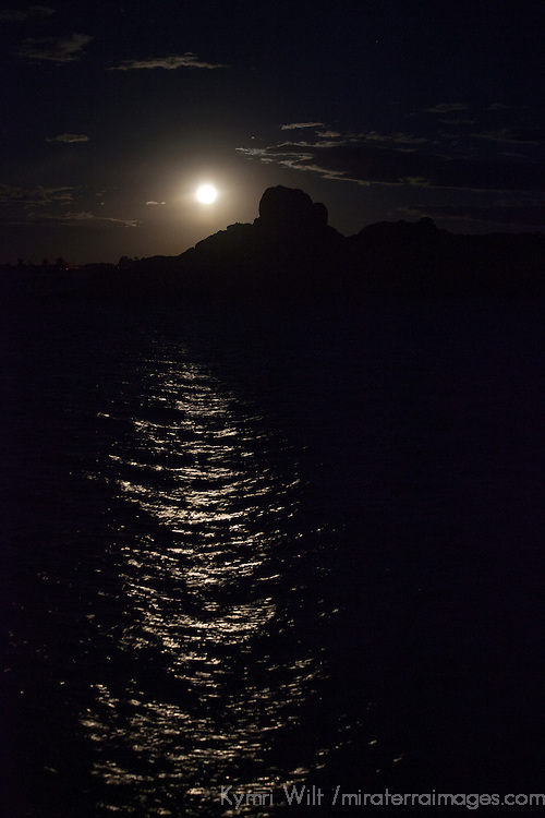 South America, Peru, Laka Titicaca. Full moon rises over Lake Titicaca.