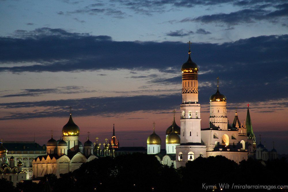 Europe, Russia, Moscow. Ivan the Great belltower and Cathedrals of the Kremlin, Moscow, at dusk.