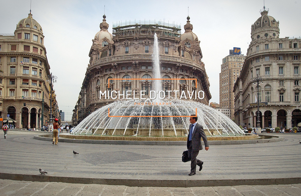 Genoa, Italy - 27 May 2013: Fountain in Piazza De Ferrari main square in Genoa Italy