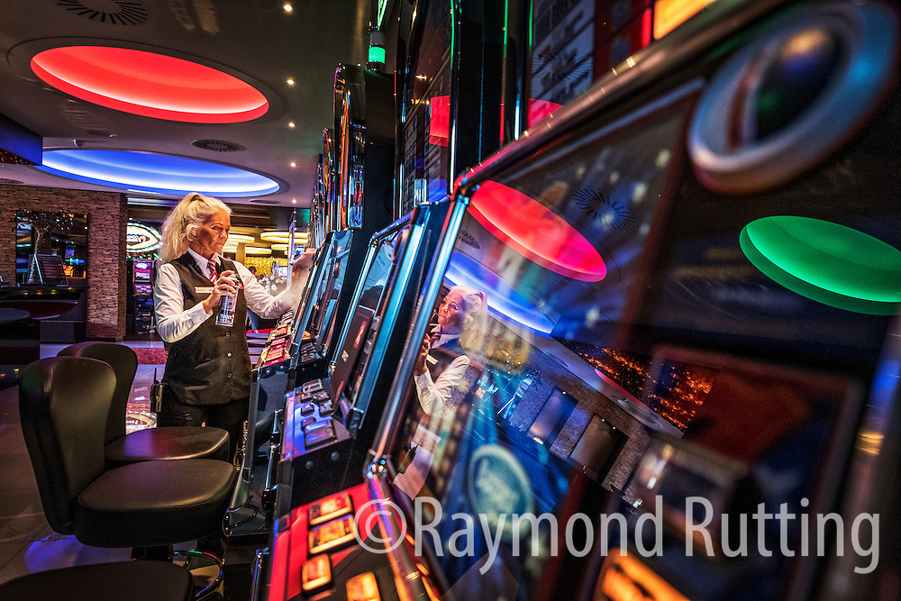 Netherlands Hoorn- Quiet day at the Flamgo casino in Hoorn at the slot machines. Time for a good clean up. photo raymond rutting