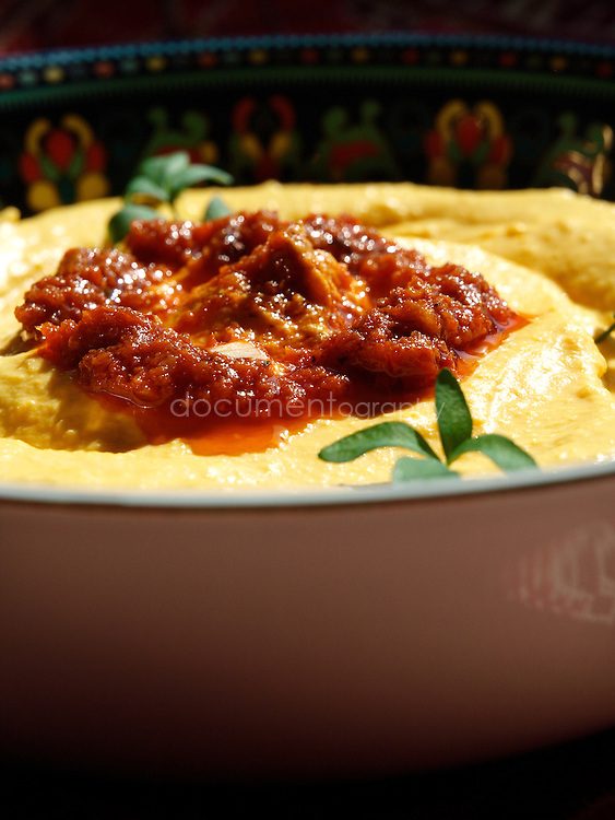 Pumpkin dip prepared by Lebanese Chef Anissa Helou and Palestinian singer Reem Kelani in London.