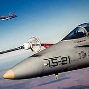Spanish Air Force Mcdonnell Douglas F18 'Hornet' refueling from a 707.