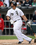 CHICAGO - APRIL 21:  Jose Abreu #79 of the Chicago White Sox bats against the Los Angeles Angels of Anaheim on April 21, 2016 at U.S. Cellular Field in Chicago, Illinois.  The Angels defeated the White Sox 3-2.  (Photo by Ron Vesely)   Subject: Jose Abreu
