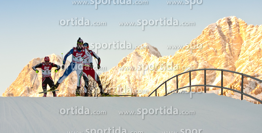 19.12.2010, Skisprung- und Langlaufstadion, Ramsau, AUT, FIS World Cup, Nordic Combined, Ramsau, im Bild v.l.n.r. RYDZEK Johannes, GER und PITTIN Alessandro, ITA, GRUBER Bernhard, AUT // during the Nordic Combined Worldcup in Ramsau 2010, EXPA Pictures © 2010, PhotoCredit: EXPA/ J. Feichter