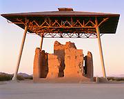0102-1003 ~ Copyright:  George H. H. Huey ~ Casa Grande Ruin.  Hohokam culture four story structure built and occupied ca.  A.D.  1300-1450.   Casa Grande Ruins National Monument, Arizona.