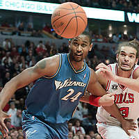 13 November 2010: Washington Wizards' center #24 Hilton Armstrong and Chicago Bulls' center #13 Joakim Noah fight for the loose ball during the Chicago Bulls 103-96 victory over the Washington Wizards at the United Center, in Chicago, Illinois, USA.