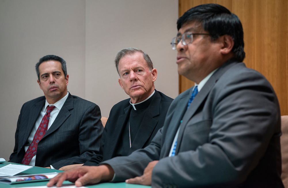 """em031617a/a/From left, Rep Antonio """"Moe"""" Maestas, D-Albuquerque, Archbishop of Santa Fe John Wester and Lt. Gov. of Pueblo of Acoma Raymond Concho Jr., held a news conference to urge senators to revisit a bill that was tabled that would allow money from the State's permanent fund be used for early childhood education. This was at the State Capitol in Santa Fe Thursday March 16, 2017.   (Eddie Moore/Albuquerque Journal"""