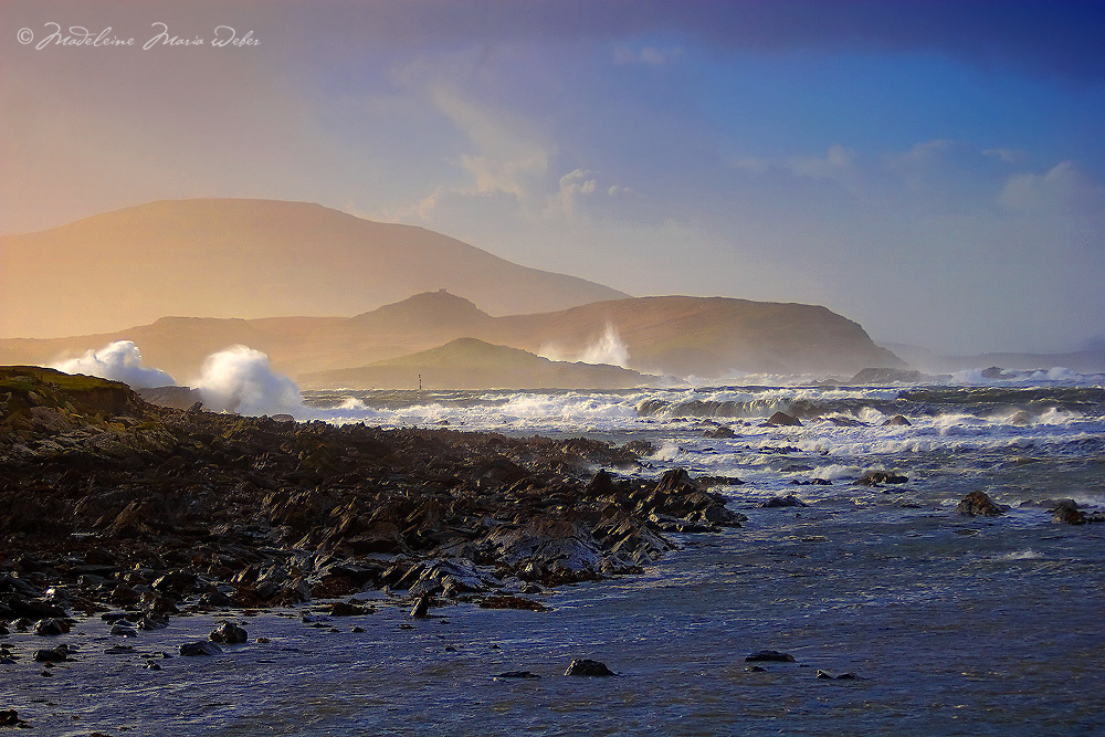 Winter Storm Black Strand Beach with pounding Atlantic waves, near Cahersiveen County Kerry Ireland / ch103