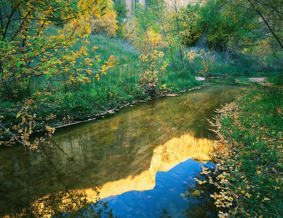 0312-1014 ~ Copyright: George H. H. Huey ~ Calf Creek at sunset. Calf Creek Recreation Area.  Grand Staircase-Escalante National Monument;  Utah.