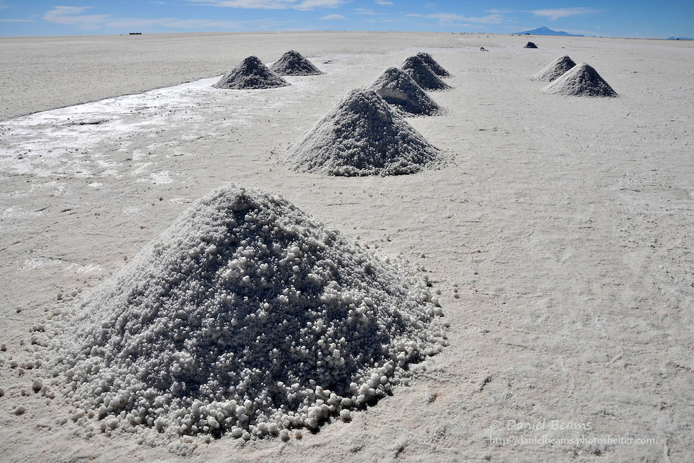 Salt mounds on the Salar de Uyuni, Potosi, Bolivia