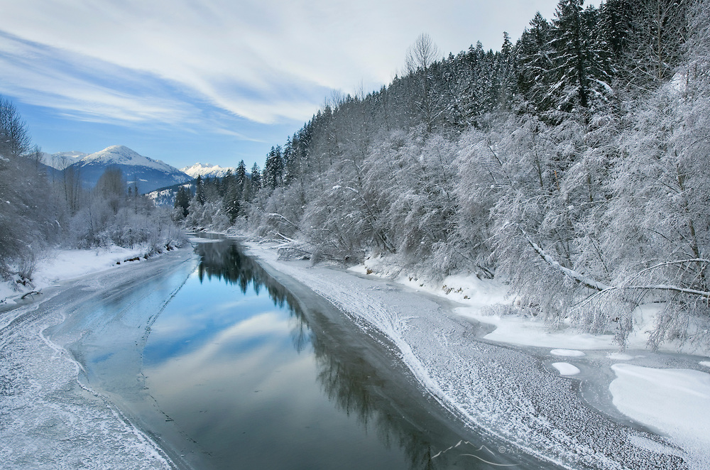 Winter along the Birkenhead River near Pemberton, Coast Mountains British Columbia