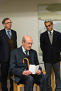 "Movie director Manoel de Oliveira receives de distinction of ""Grand Officier de la Légion d'Honneur"" by the French Ambassador in Portugal, Jean-François Blarel (not in photo). State Secretary of Culture Jorge Barreto Xavier appears on the right."