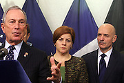 October 30, 2012- Brooklyn, NY: (L-R) New York City Mayor Michael Bloomberg, New York City Council Speaker Christine Quinn and FDNY Commissioner Salvatore Cassano update New Yorkers and the Nation of efforts and numbers on city response to Hurricane Sandy held at the Office of Emergency Management on October 30, 2012 in Downtown Brooklyn, NY. The Super Hurricane has ravaged parts of the New York City area where the storm has brought 23 serious fires to parts of Staten Island, Brooklyn, Queens as well as City Island and the Bronx, including the destruction of more than 80 houses in the Breezy Point section of the Rockaways. (Terrence Jennings) .