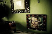A framed photo of the author Elizabeth Gilbert is prominently displayed on the wall of Wayan's Balinese Traditional Healing Center made famous by the book 'Eat, Pray, Love' in Ubud, Bali, Indonesia.