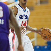 Delaware 87ers Guard Vander Blue (14) dribbles the ball up court in the first half of a NBA D-league regular season basketball game between the Delaware 87ers (76ers) and the Iowa Energy Tuesday, Jan 14, 2014 at The Bob Carpenter Sports Convocation Center, Newark, DE