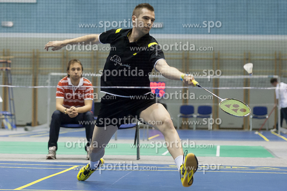 Iztok Utrosa of Slovenia during match at Slovenia Open Badminton tournament 2012, on May 12, 2012, in Medvode, Slovenia. (Photo by Grega Valancic / Sportida.com)