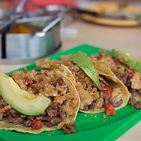 Tacos campechanas--tacos of longaniza, salted beef, and chicharon.