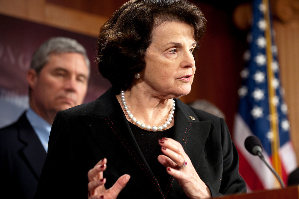 Senator DIANNE FEINSTEIN (D-CA), speaks to the press after the Senate Judiciary Committee voted 10-8 along party lines in favor for the Respect for Marriage Act, a bill to repeal the Clinton era Defense of Marriage Act law.