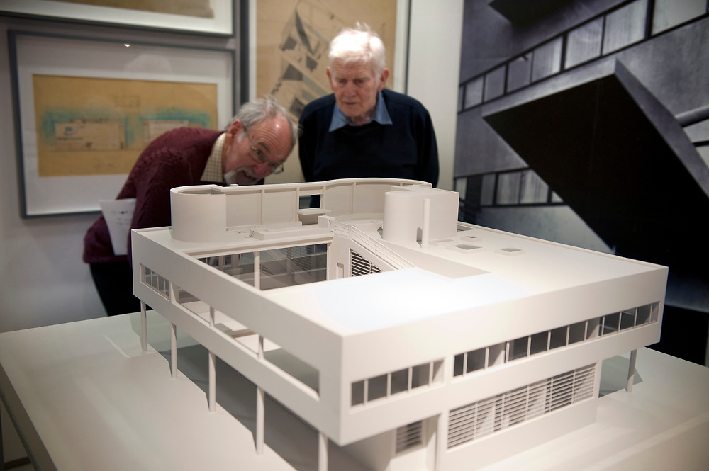 UK. London. The Barbican Centre, a collection of residential apartments, galleries, concert halls and cinemas. The Barbican Gallery is holding a Le Corbusier exhibition.<br /> Photo shows the Le Corbusier exhibition in the Barbican Art Gallery.<br /> Photos &copy;Steve Forrest