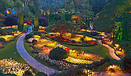 Butchart Gardens in Victoria, B.C..Evening in the Sunken Garden