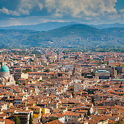Red rooftops and the Great Synagogue, a view from the top of the Duomo, Florence, Italy