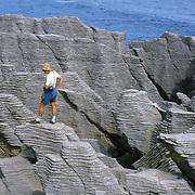 Pancake Rocks weathered from limestone sediment layers at Punakaiki, Paparoa National Park, New Zealand. Published in Sierra Magazine, Sierra Club Outings January/February 2004.