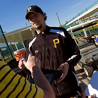 BRADENTON, FL -- January 13, 2010 -- Pittsburg Pirates pitcher Charlie Morton signs autographs during workouts at the Pirate City Spring Training Headquarters in Bradenton, Fla., on Wednesday, January 13, 2010.  (Chip Litherland for the Chip Litherland for the Pittsburgh Tribune-Review)