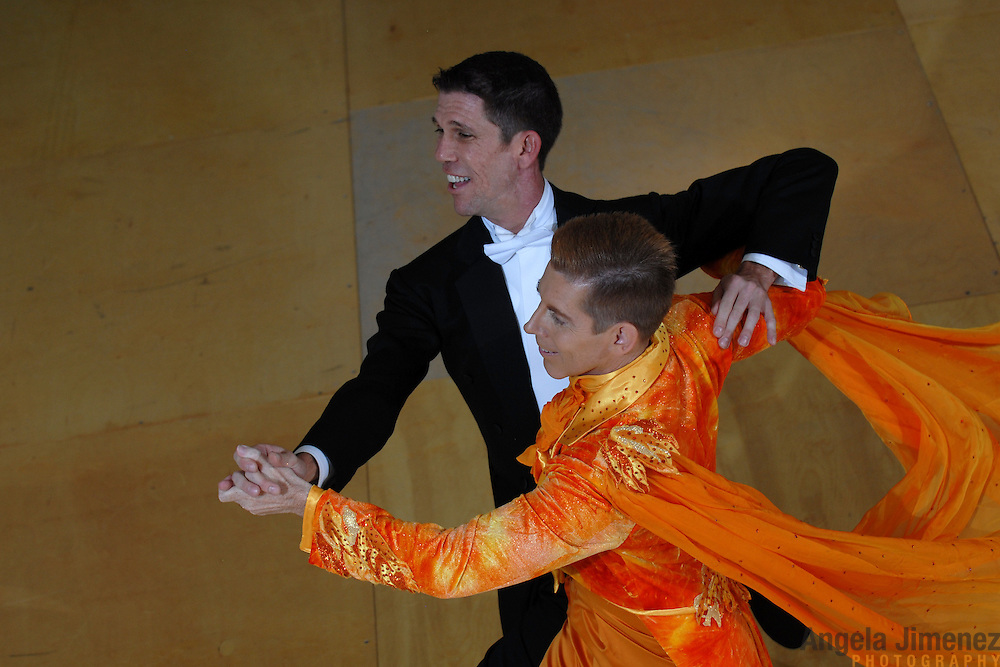 Same-sex ballroom dancers Stuart Nichols, top, and Richard Lamberty, of Orlando, Florida.compete in the men's standard competition at the 5 Boro Dance Challenge on May 5, 2007...The locally produced 5 Boro Dance Challenge, New York City's first major same-sex dance competition, was held at the Park Central Hotel in Manhattan from May 4-6, 2007. .
