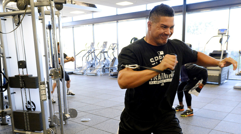 Avisail Garcia works out in the weight room at Camelback Ranch in Glendale, Arizona.  (Photo by Ron Vesely).
