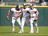 CHICAGO - AUGUST 21:  Melky Cabrera #53 (L), J.B. Shuck #20 and Adam Eaton #1 (R) of the Chicago White Sox celebrate after the game against the Oakland Athletics on August 21, 2016 at U.S. Cellular Field in Chicago, Illinois.  The White Sox defeated the Athletics 4-2.  (Photo by Ron Vesely)   Subject:   Melky Cabrera; J.B. Shuck; Adam Eaton