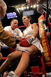 Noriko Kariya, sister of NHLer's Paul and Steve Kariya, during her bout against Maria Lucy Contreras.  With the win, Kariya remained undefeated and moved her record to 4-0.  The bout took place on the undercard of the Arturo Gatti vs Thomas Damgaard IBA Welterweight Championship bout at Boardwalk Hall in Atlantic City, NJ.