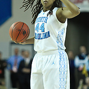 North Carolina Guard Tierra Ruffin-Pratt (44) sets-up the tar-heel offense in the first half of a 2013 Round Two Women's NCAA tournament game against No. 6 Delaware Tuesday, March 26, 2013, at the Bob Carpenter Center in Newark Delaware.