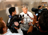 6 June 2007:  Brian P. Burke interview in the locker room celebrates after game 5 of the NHL Stanley Cup playoff championship game where the Anaheim Ducks defeated the Ottawa Senators 6-2 in regulation at the Honda Center in Anaheim, CA. .
