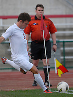.Ohio State midfielder Brady Wahl (3) takes a corner kick as OSU takes on Binghamton in the first half of an NCAA men's college soccer game in Columbus, Ohio on Sunday, Sept. 11, 2011, at Jesse Owens Memorial Stadium.