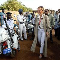 Khartoum, Sudan 11 April 2010<br /> EU Chief Observer Veronique de Keyser arrives to a polling station during the presidential elections in Sudan.<br /> Photo: Ezequiel Scagnetti